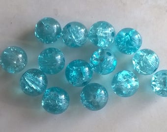 Set of 30 cracked turquoise beads 10mm