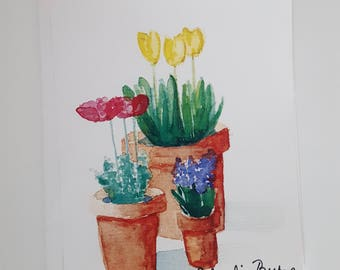 Potted Flowers Watercolor Print