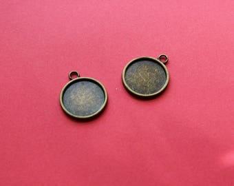 2 Supports 20 mm pendentif bronze pour cabochon