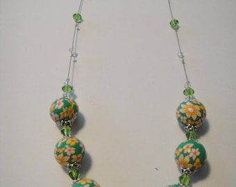 Bead, polymer clay, green, flowers