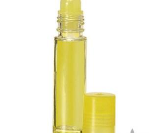 144 pc. Wholesale (1 gross pk.) Yellow Glass ROLL ON  Bottles - 10 ML- 1/3 oz./matching caps/inserts. Aromatherapy Perfume Body Chakra