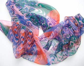 Wave to Triangle Hand printed one off silk chiffon scarf multicoloured geometric wavy patterns art scarf