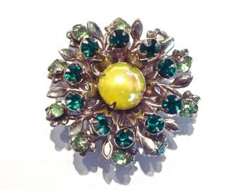 Gorgeous Green Semi-Precious Stones Pin / Brooch * Vintage - Early-Mid 20th Century * Quality Costume Jewelry * From Family Estate (7)