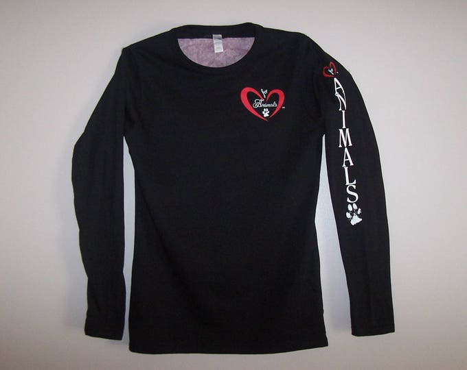 Heart of Love for Animals - Ladies - Long Sleeve Shirt (Tapered Fit) - Size XL