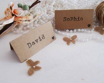 Rustic wedding place cards - rustic wedding - shabby chic wedding - kraft place card - place setting - table stationary - wedding decor