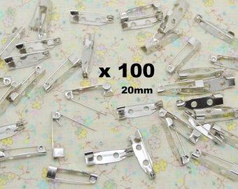 100 x brooch pin metal seam 20mm / 5mm