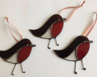 Christmas Stained Glass Robins