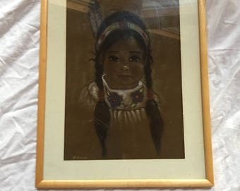 Native American Framed Oil Pastel Original