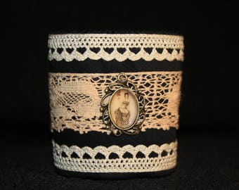 Lace Cuff Bracelet with small Medallion