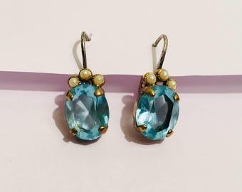 Seed Pearl & Oval Cut Glass Earrings.