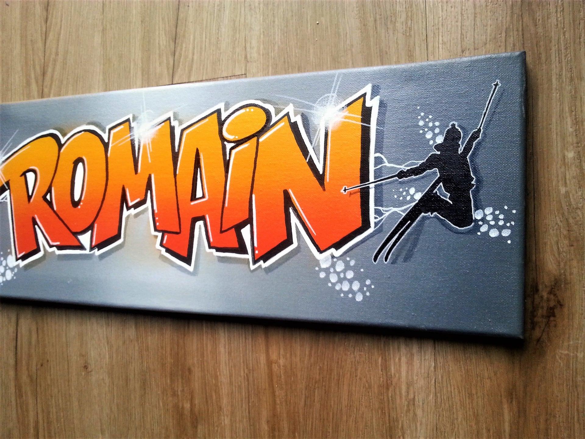 toile graffiti tableau graff prenom romain skate ski free ride. Black Bedroom Furniture Sets. Home Design Ideas