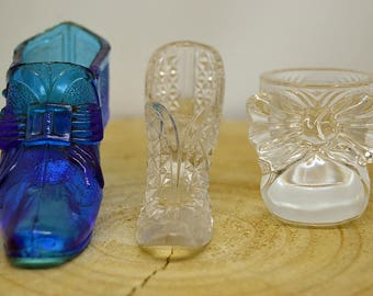 3 Miniature Shoes Glass