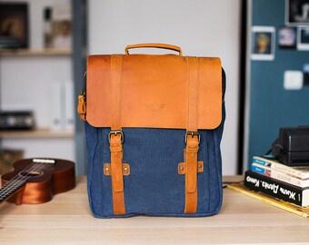 Handmade bag , backpack canvas, canvas pack, canvas rucksack, blue backpack, rucksack leather backpack, travel backpack men, handmade bag