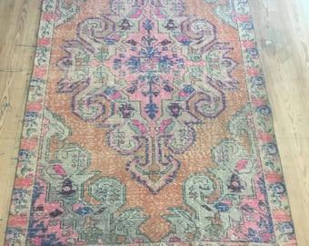 Oushak Rug,Vintage Turkish Rug, Home office decor,Vintage carpet,home living,7.1x4.1feet, Floor rug, Area rug, desing rug, Anatolian rugs