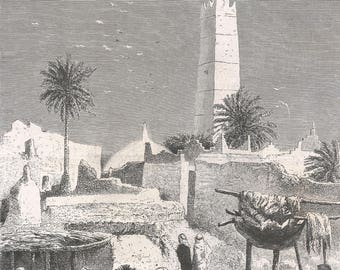 Algeria 1881, Minaret of the Malekite Mosque, Ouargla, Old Antique Vintage Engraving Art Print, Men, Women, Animals, Horses, Shade, Resting