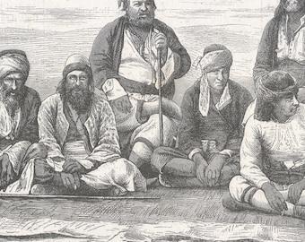 Turkey 1869, Types of Constantinople, Old Antique Vintage Engraving Art Print, Man, Sitting, Squatting, Smiling, Hat, Bandana, Coat, Rug