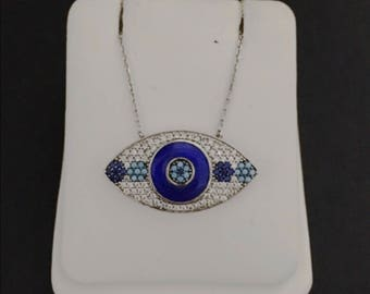 Sterling silver .925, 18k white gold plated, evil eye necklace, cubic zirconia, turquoise pendant