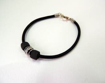 Leather cord bracelet, Pearl black sandstone and Tibetan style bead