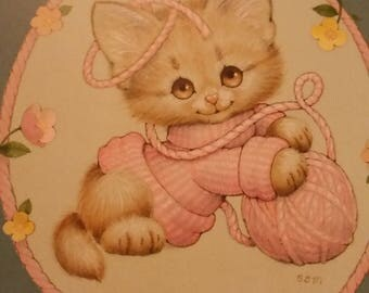 Vintage Greeting Card - Morehead Blank Notecard - Kitten Knits - Current Blank Card - Kitten With Ball of Yarn