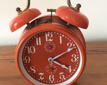 Alarm clock Vintage 1970s orange jaz