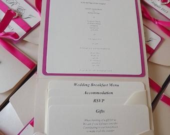 1 x Pocketfold sample Wedding Invitations Ribbon & Heart Buckle design