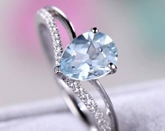 Pear Shaped Aquamarine Engagement Ring CZ Diamond White Gold 925 Sterling Silver Solitaire Chevron Split Shank Wedding Promise ing Morganite