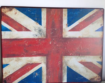 Distressed Metal Union Jack Sign , Vintage look, very shabby chic ( 35 x 26.5 cm )