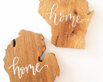 Wooden State Cutouts | Home Sign Decor | Wood Signs