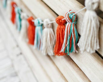 Yarn Tassel Garland / Birthday Banner / Orange Beige & Blue Tassel Garland / Baby Shower Nursery Garland / Fall Decor / Yarn Wall Hanging