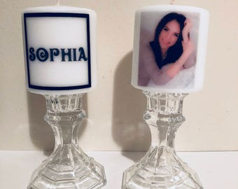 Customized with names and photo candles! Photo candles! Photo on candles! Photo gift! Personal photo candle! Names on candles! Customized