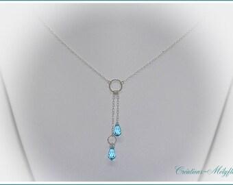 Silver necklace with blue Swarovski crystals pendant