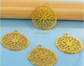 "4 ""Round stylized"" prints - gold - 12mm Diam # E72"