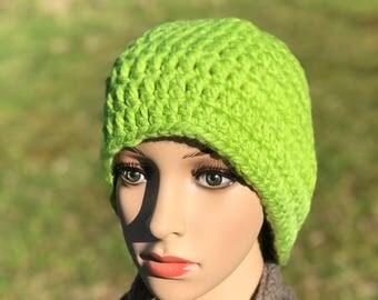 Bright Green Handmade Crocheted Hat - Beanie