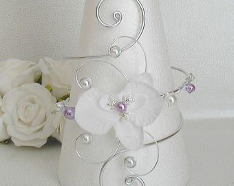 White Victoria wedding purple and swarovski rhinestone bracelet