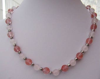 Pink necklace rose quartz and cherry quartz gemstone