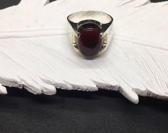 Vintage Yemeni Aqeeq in Fine Silver Ring Shefat Al Abd Al Habshi