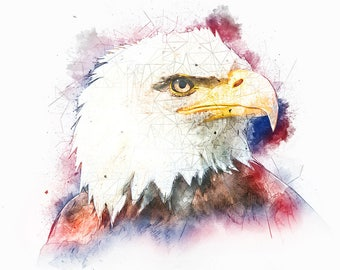 Eagle Art, Patriotic Watercolor, Red White and Blue, Bald Eagle, Bird Watercolor