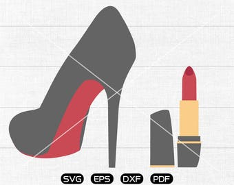 Angled High heels pumps stilettos red SVG, lipstick Clipart, cricut, silhouette cut files commercial use