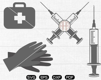 Medical kit Svg,Syringe Clipart, Monogram Frame cricut, cameo, silhouette cut files commercial & personal use