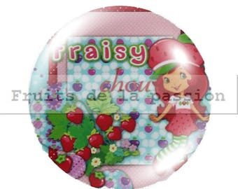 1 cabochon 25mm, miss, strawberry, pink round glass