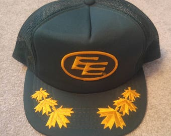 Classic Edmonton Eskimos Trucker hat from the 80's - embroidered maple leaves - purchased from collector **TRUE VINTAGE**