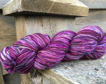 Plum Magical, a hand painted sock yarn. One of a kind Dot Dye