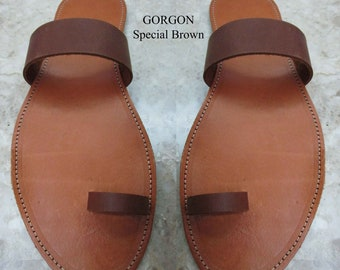 Sandals Womens,Brown Sandals,grecques,sandales naturelles,Leather Sandals,Greek Sandals,Womens Sandals,Toe ring,GORGON(Special price)