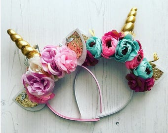 Unicorn Headband/Pink and Cream Unicorn Headband/Gold Unicorn Horn/ Girls Headband/ Cake Smash, Girls Birthday, Flower Headband, Phot prop