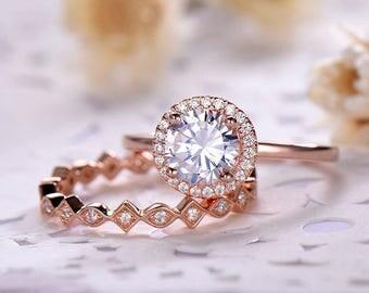 CZ Cubic Zirconia Wedding Ring Set 14k 18k 925 Sterling Silver Engagement Rose Gold Halo Full Eternity Stacking Band Bridal Set Women 2pcs
