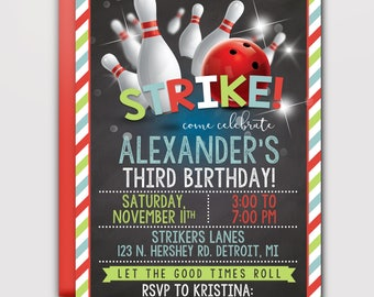 Strike Bowling Birthday Invitation