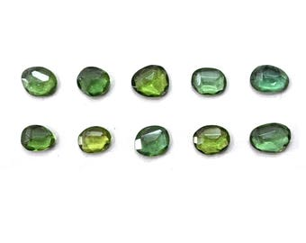 Apatite Natural Green Apatite Rose Cut Polki Both Side Faceted 7mm to 10mm (Approx) Price per 1 piece
