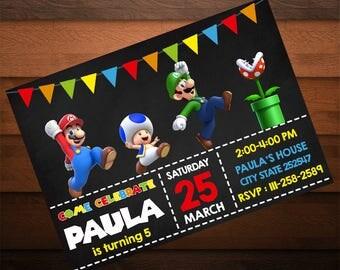 Mario Bros Birthday Invitation, Printable Invites, Mario Bros Party, Mario Bros Invitations, Personalized Invitation, Mario Bros Decoration