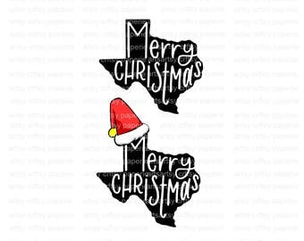 INSTANT DOWNLOAD -  Merry Christmas Texas SVG Files for Cricut, Svg Files Christmas, Svg Christmas,Christmas Svg, Texas,Texas Svg, Santa Hat