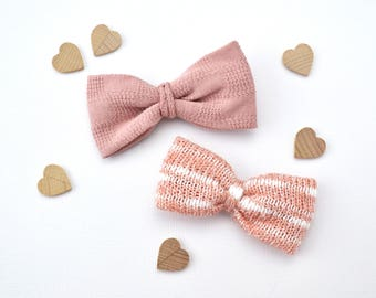 Sweater Knit Bows - Dusty Rose / Coral & White